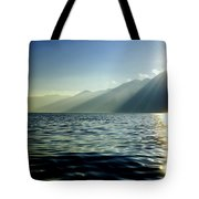Sunlight Over A Lake With Mountain Tote Bag