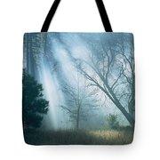 Sunlight Pierces The Morning Mist Tote Bag