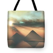 Sunrays Shine Down On Three Pyramids Tote Bag