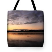 Sunrise And Fish And Docks Tote Bag