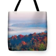 Sunrise And Fog In The Cumberland River Valley Tote Bag