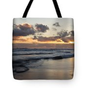 Sunrise At Bamburgh Beach Tote Bag