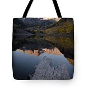 Sunrise At The Maroon Bells Reflected Tote Bag
