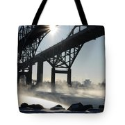 Sunrise Blue Water Bridges Fog Tote Bag
