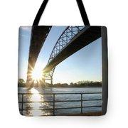 Sunrise Blue Water Bridges Tote Bag