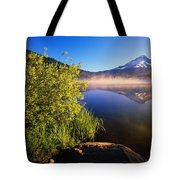 Sunrise Fog On Trillium Lake Tote Bag