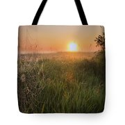 Sunrise On A Dew-covered Cattle Pasture Tote Bag
