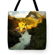 Sunrise On A Waterfall At Glacier  Tote Bag