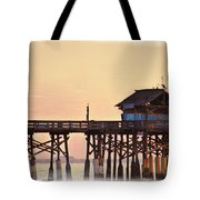 Sunrise On Rickety Pier Tote Bag