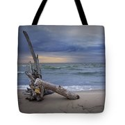 Sunrise On The Beach With Driftwood At Oscoda Tote Bag