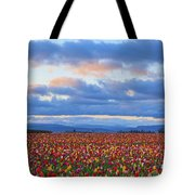 Sunrise Over A Tulip Field At Wooden Tote Bag