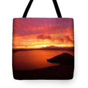 Sunrise Over Crater Lake Tote Bag