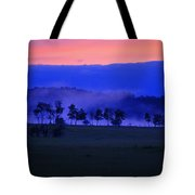 Sunrise Over Field With Trees Tote Bag