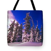 Sunrise Over Snow-covered Pine Trees Tote Bag
