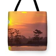 Sunrise Over The River Tote Bag