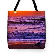 Sunrise Sea And Seagull Tote Bag