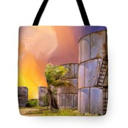 Sunset And Abandoned Oil Tanks Tote Bag
