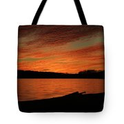 Sunset And Kayak Tote Bag