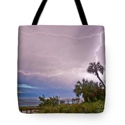 Sunset And Lightning Tote Bag