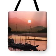 sunset at Mae Khong river Tote Bag