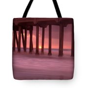 Sunset Behind Pier Tote Bag
