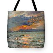 Sunset In Aegean Sea Tote Bag