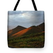 Sunset Light Hitting The Mountains Tote Bag