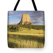 Sunset On Devils Tower Wyoming United Tote Bag