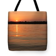 Sunset On Geist Reservoir In Lawrence In Tote Bag