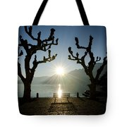 Sunset Over A Lake With Trees Tote Bag