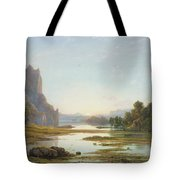 Sunset Over A River Landscape Tote Bag by Francis Danby