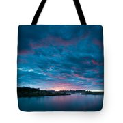 Sunset Over A River  Tote Bag