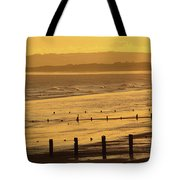 Sunset Over Beach In Winter Youghal Tote Bag