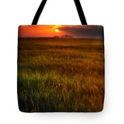 Sunset Over Field Tote Bag