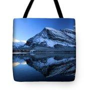 Sunset Over Many Glacier Lodge Tote Bag