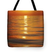 Sunset Over Ocean Horizon Tote Bag