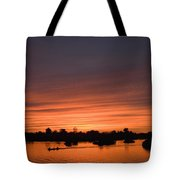 Sunset Over River Tote Bag by Axiom Photographic