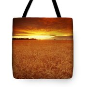 Sunset Over Wheat Field Tote Bag
