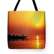 Sunset Rowing Tote Bag