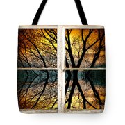Sunset Tree Silhouette Abstract Picture Window View Tote Bag