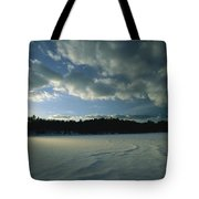 Sunset Viewed From The Frozen Surface Tote Bag