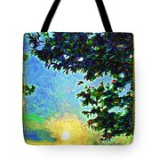 Sunset With Leaves Tote Bag