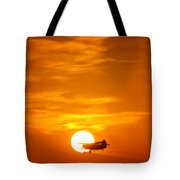 Sunset With Plane Tote Bag