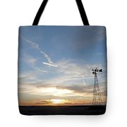 Sunset With Windmill Tote Bag