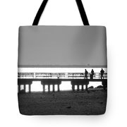 Sunsets On Coney Island In Black And White Tote Bag