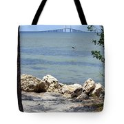 Sunshine Skyway From The Causeway Tote Bag