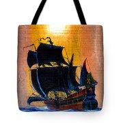 Sunship Galleon On Wood Tote Bag