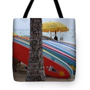 Surfboards On Waikiki Beach Tote Bag