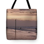 Surfers Pelicans And Pink Sky Tote Bag