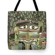 Surprize Drops Surrealistic Green Brown Face With  Liquid Drops Large Eyes Mustache  Tote Bag